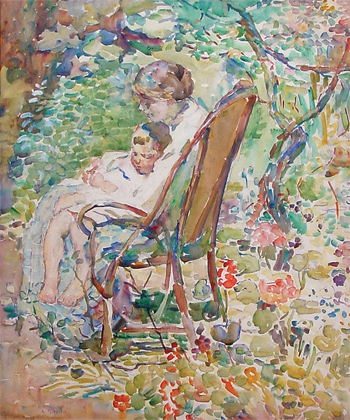 Mother and Child in a Garden, France, (detail), c. 1911-12