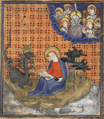 St. John on Patmos Visited by an Angel, from an illuminated Manuscript of the Bible Historiale, a text featuring biblical narratives and other legends c. 1325